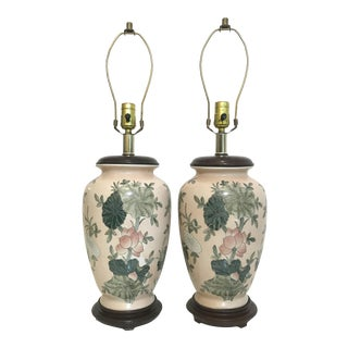 1970s Boho Chic Blush Pink Ceramic Ginger Jar Table Lamps - a Pair