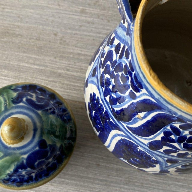Blue 1920s Mexican Tea Pots & Creamer - Set of 2 For Sale - Image 8 of 13