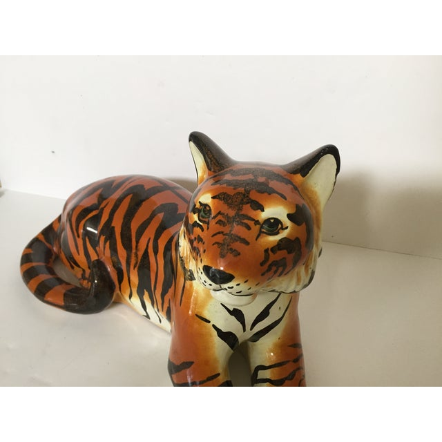 Italian Stunning Italian Ceramic Tiger For Sale - Image 3 of 8