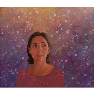 Contemporary Portrait of a Woman Oil and Watercolor Painting by Deborah DeSaix For Sale