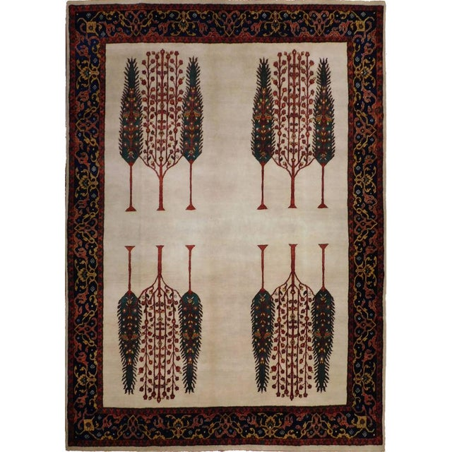 """Indian Hand-Knotted Rug With Tribal Design - 6'6""""x 7'9"""" For Sale"""