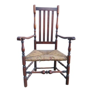 Early 19th Century Antique William & Mary Bannister Back Armchair For Sale