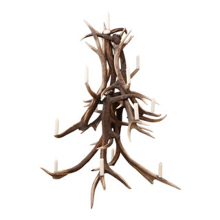 Red Stag Antler Tree-Shape Candelabra