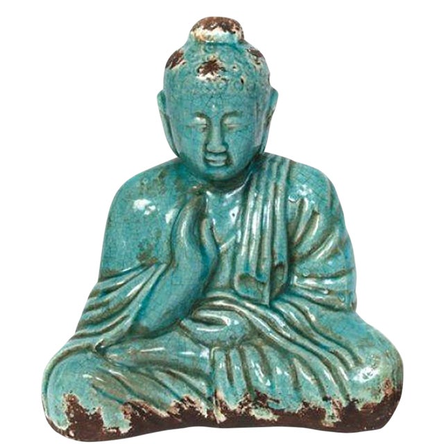 Turquoise Sitting Buddha Statue For Sale