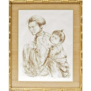 Huge Original Signed Edna Hibel Scenic Asian Mother & Child Painting Lithograph For Sale