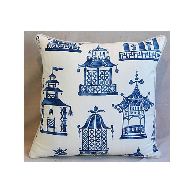 "Chinoiserie Blue & White Chinoiserie Pagoda Feather/Down Pillows 24"" Square - Pair For Sale - Image 3 of 11"