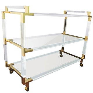 "Charles Hollis Jones Lucite and Brass Bar Cart From the ""Metric"" Collection For Sale"
