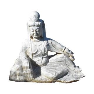 Antique Kwan Yin Avalokiteshara Buddha Marble Statue For Sale