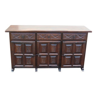 Stunning One of A Kind Vintage Carved Buffet For Sale