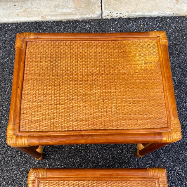 Late 20th Century Leather Wrapped Rattan Nesting Tables - Set of 3 For Sale - Image 5 of 13