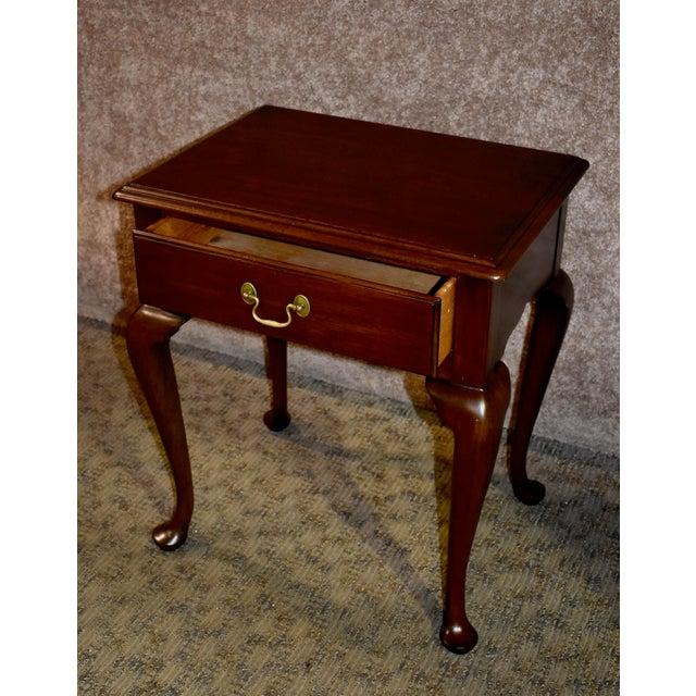 1970s Queen Anne Henkel-Harris Solid Cherry Side Table W/Drawer For Sale In Philadelphia - Image 6 of 12
