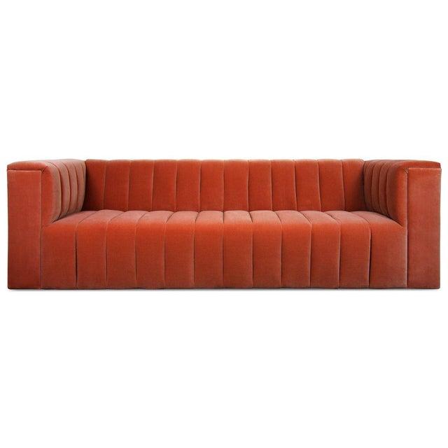 Monaco Sofa in Paprika Velvet For Sale - Image 4 of 4
