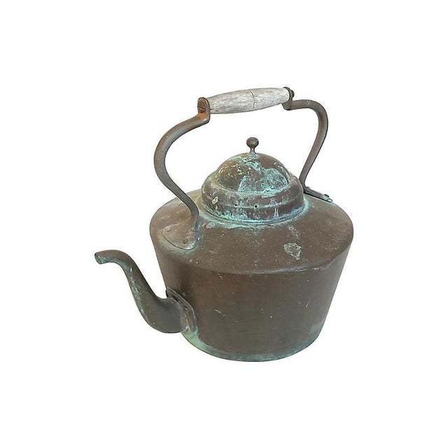 French Patinated French Copper Kettle For Sale - Image 3 of 3