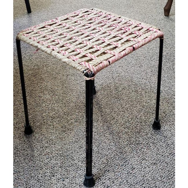 Mid Century Woven Top Stool For Sale - Image 4 of 5