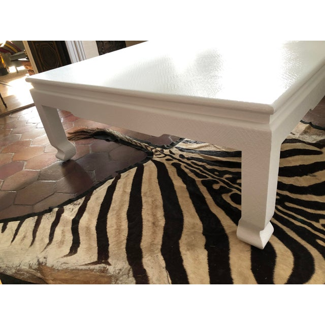 Large Square Asian Modern Linen Wrapped Coffee Table in the Style of Karl Springer For Sale In New York - Image 6 of 12