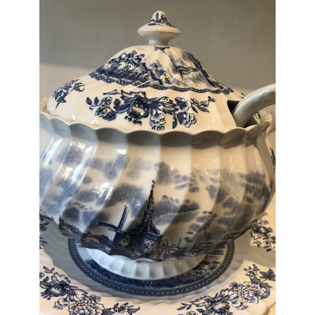 Vintage C1940 rare three piece Johnson Bros. blue and white soup Tureen serving set. Includes tureen, under-platter, and...
