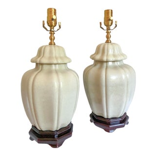 Celadon Chinoiserie Lamps, Pair For Sale