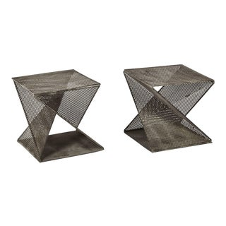 Mathieu Matégot Style Geometric Side Tables - a Pair For Sale