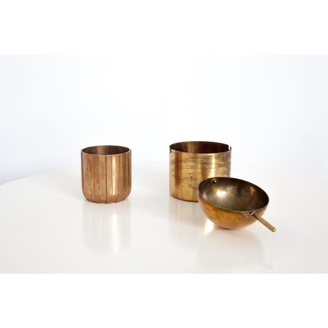 """1950s Cylinda-Line Brass Ashtray by Arne Jacobsen X Stelton With Brass """"Vendor"""" Vase For Sale - Image 5 of 8"""