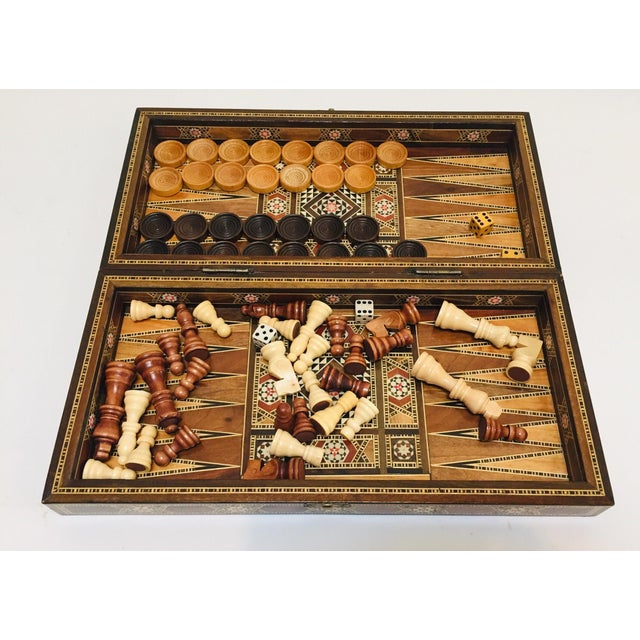 Large vintage mid-century Syrian inlaid with mother of pearl mosaic backgammon and chess game. Great inlaid micro mosaic...