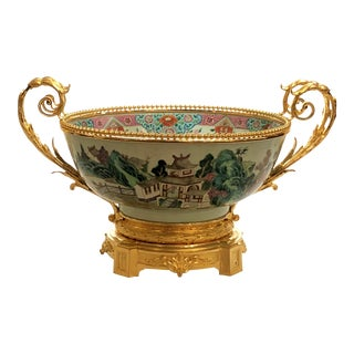Antique Chinese Early 19th Century Porcelain Centerpiece Bowl With Ormolu Mounts For Sale