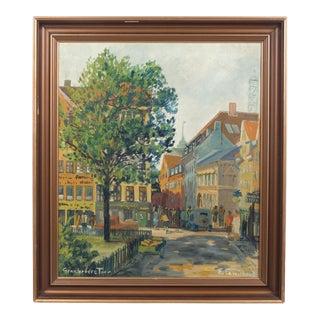 Busy Copenhagen Cityscape Oil on Canvas For Sale