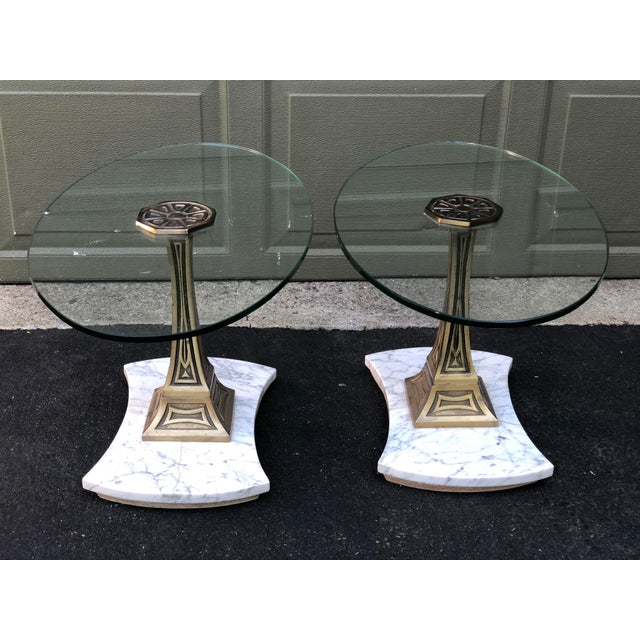 Versatile mid century table pair that would work as end tables, accent tables or petite coffee tables. Heavy, with marble...