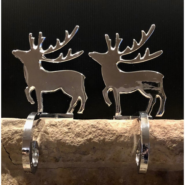 Traditional Vintage Reindeer Silver Plated Stocking Hangers - Set of 2 For Sale - Image 3 of 9
