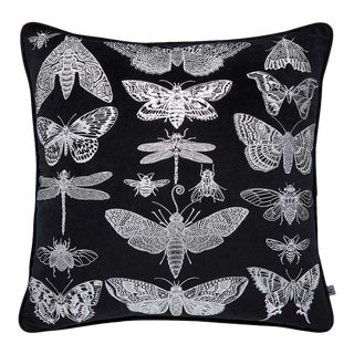 Gothic Bugs Black & Silver Cushion For Sale