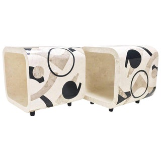 """1990s Contemporary Tessellated Stone """"Et Cetera"""" End Tables - a Pair"""