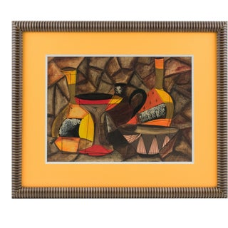 Cubist Still Life Gouache Painting by a Derek Ching For Sale