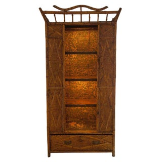 Bamboo and Seagrass 19th Century Victorian Armoire With Open Shelves For Sale