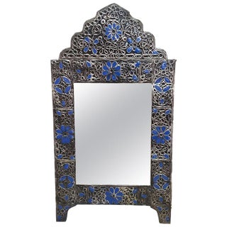 Moroccan Ultra Arched Metal Inlaid Mirror, Rabat, Dark Blue Motif For Sale
