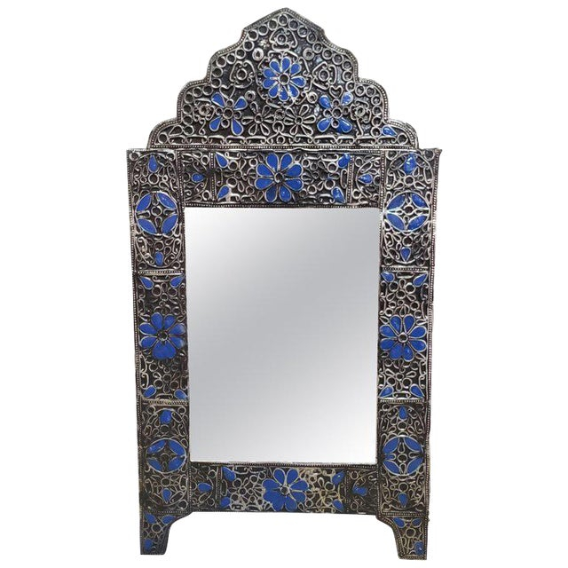Moroccan Ultra Arched Metal Inlaid Mirror, Rabat, Dark Blue Motif For Sale