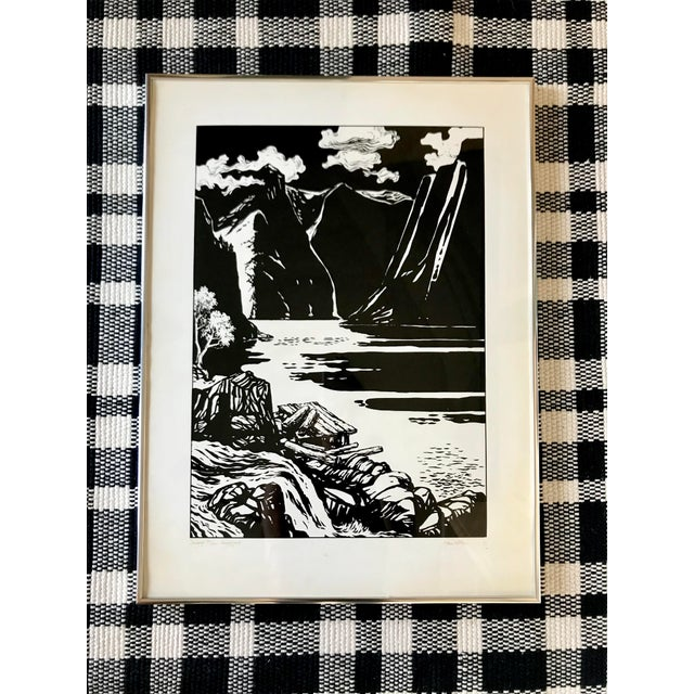 1970s Vintage Black and White Norway Print For Sale - Image 5 of 5