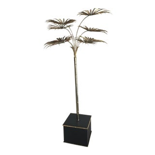 Italian Gold Palm Tree Metal Faux Bamboo Plant Brass Pot Statue For Sale