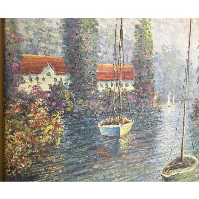 Vintage Sailing Boats on the Lake Oil on Canvas Painting For Sale - Image 5 of 11