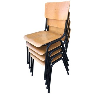 Danish Blonde Plywood Chairs - Set of 4
