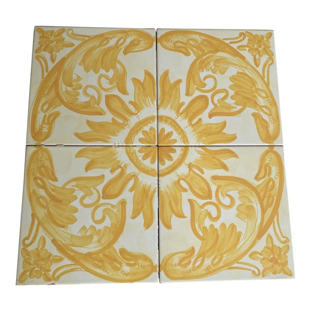 Vintage Italian Terra-Cotta Hand Painted Glazed Tiles - Set of 4 For Sale