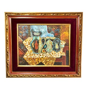 Cubist Still Life Picasso Style Painting by Edward Movitz, Boston For Sale