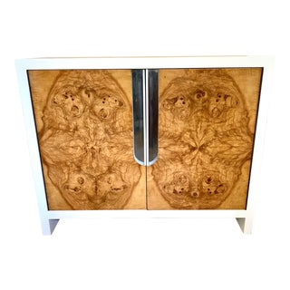 Milo Baughman Style Lacquered Burl Door Cabinet For Sale