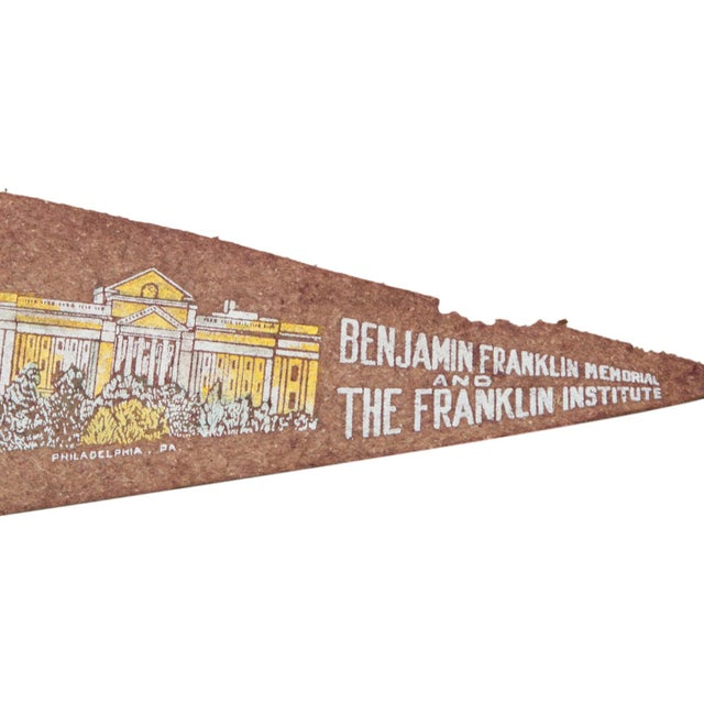 Charming and rare felt flag banner pennant of Benjamin Franklin Memorial and The Franklin Institute, circa 1930's....