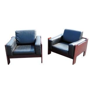 Mid-Century Modern Black Vinyl and Wood Club Chairs - a Pair