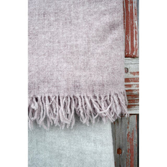 Textile FirmaMenta Italian Mauve Pink Gauze Throw For Sale - Image 7 of 8