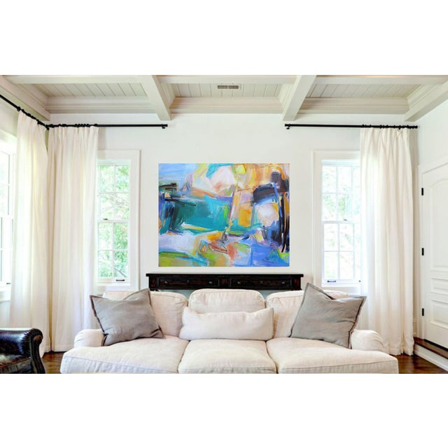 """Trixie Pitts """"Remembering Bermuda"""" by Trixie Pitts Extra-Large Abstract Oil Painting For Sale - Image 4 of 9"""