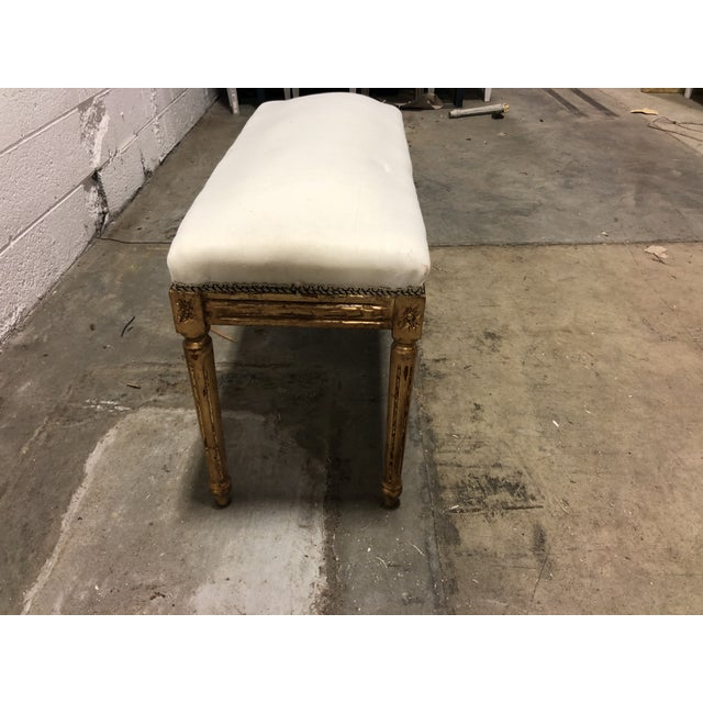 Vintage Louis XVI Upholstered Giltwood Bench For Sale - Image 4 of 5