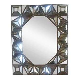 Antiqued Italian Brass Framed Mirror For Sale