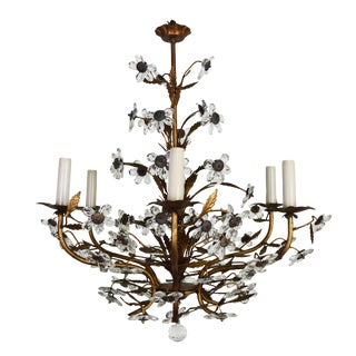 Vintage French Metal and Crystal Flower Chandelier For Sale