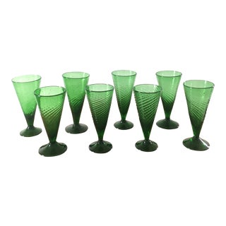 Mid 20th Century Hand Blown Green Drinking Glasses- a Set of 8 For Sale