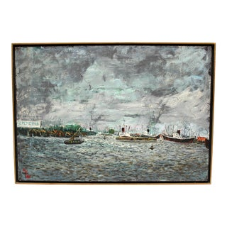 Vintage Impressionist Seascape Painting With Boats For Sale